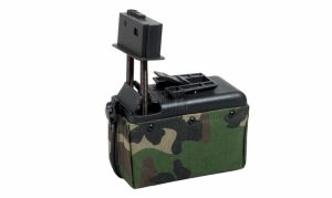 CHARGEUR DRUM M249 MINI A&K 1500 BILLES WOODLAND