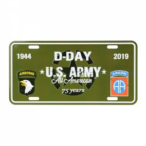 Plaque d'immatriculation en métal D-Day U.S. Army