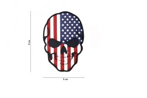 Patch 3D PVC skull USA
