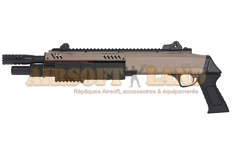 Fusil a pompe FABARM STF 12 short 11 Spring 3 coups tan / noir
